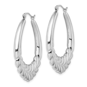 Sterling Silver Rhodium-plated Fancy Oval Hoop Earrings