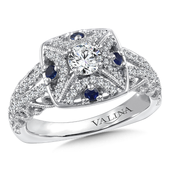 Diamond and Blue Sapphire Halo Engagement Ring Mounting in 14K White/Rose Gold (.58 ct. tw.)