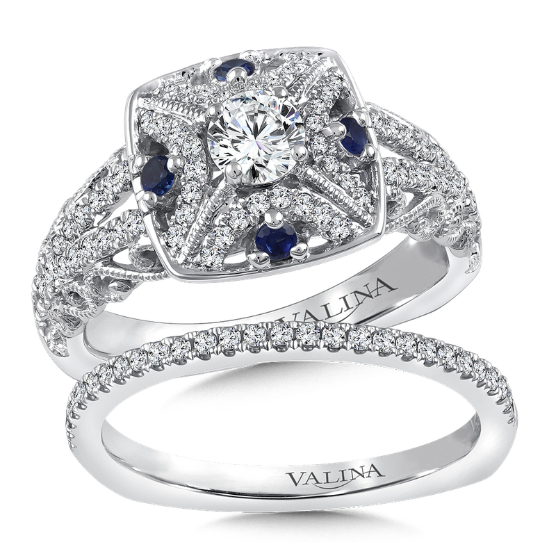Valina Diamond and Blue Sapphire Halo Engagement Ring Mounting in 14K White/Rose Gold (.58 ct. tw.)