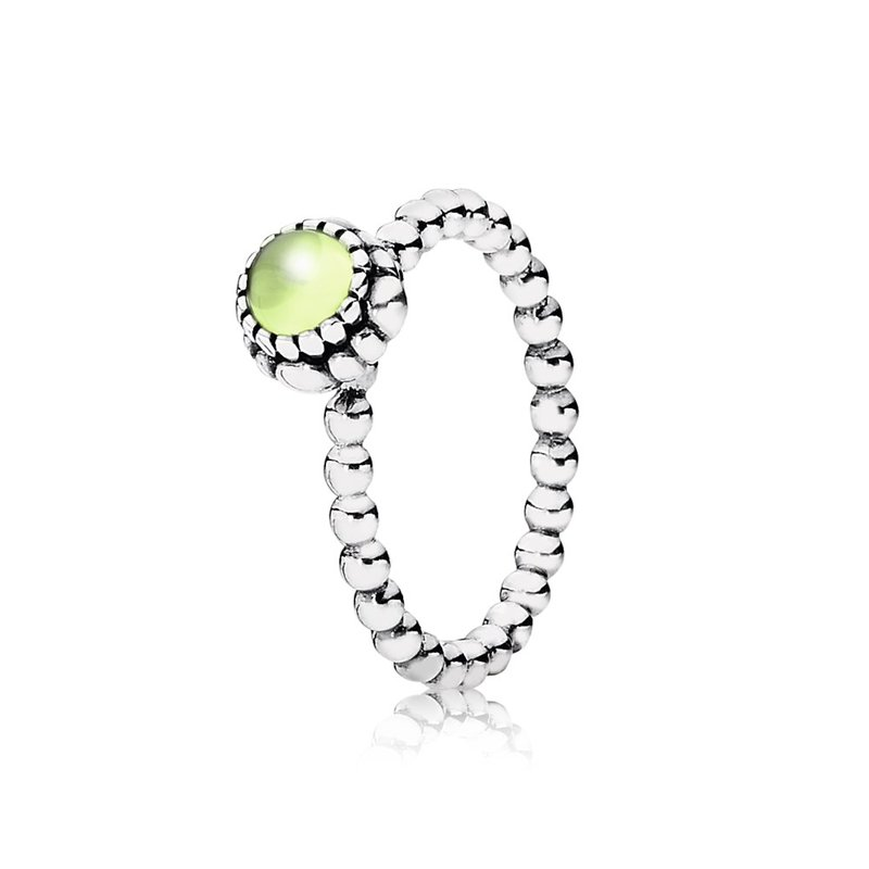 PANDORA Birthday Blooms Stackable Ring, August, Peridot