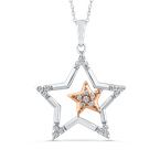 0.13 ct Round Diamond Star Shape Fashion Pendant with Chain