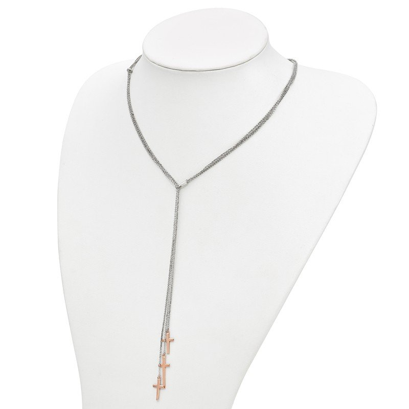 Leslie's Leslie's Sterling Silver 3 Rose-tone Cross Adj up to 24in Slip-on Necklace