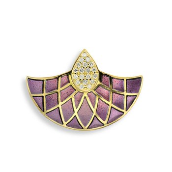 Purple Art Deco Fan Pendant.18K -Diamond - Plique-a-Jour