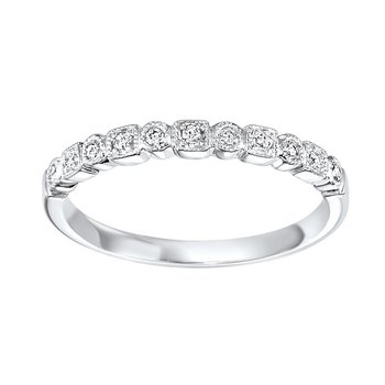 Diamond Geometric Milgrain Stackable Band in 14k White Gold