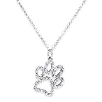 Diamond Paw Necklace in 14k White Gold with 38 Diamonds weighing .20ct tw.