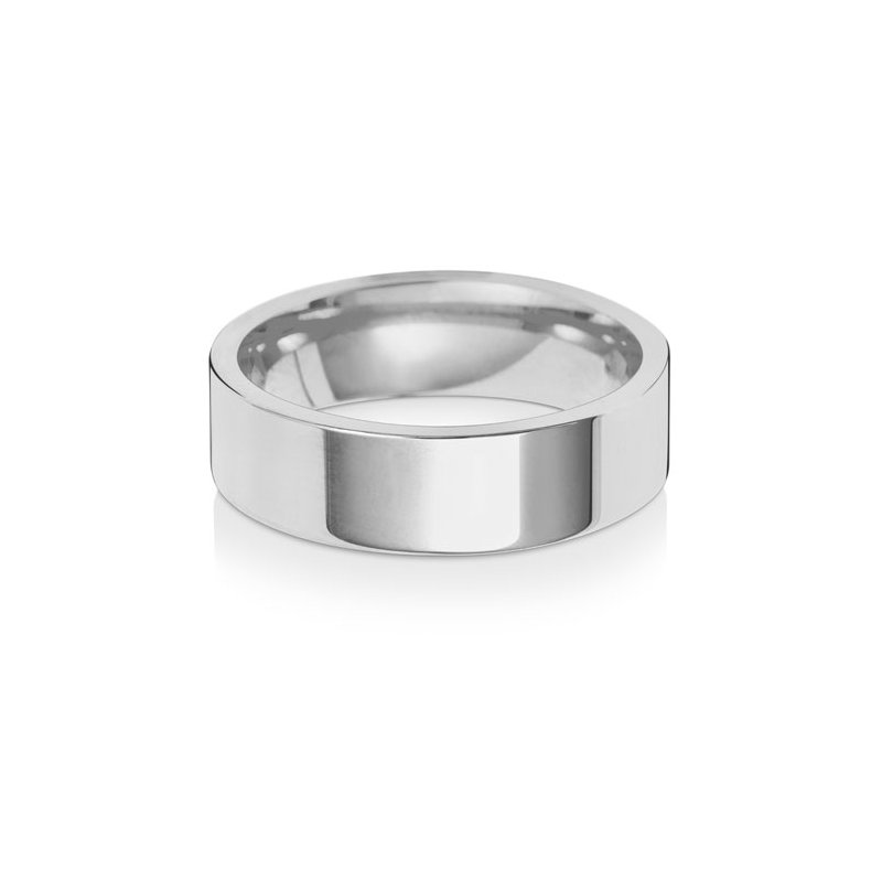Treasure Platinum 6mm Flat Court Wedding Ring