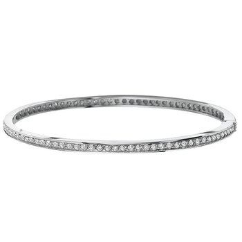 Diamond Hinged Bangle in 14k White Gold with 83 Diamonds weighing 1.45ct tw.