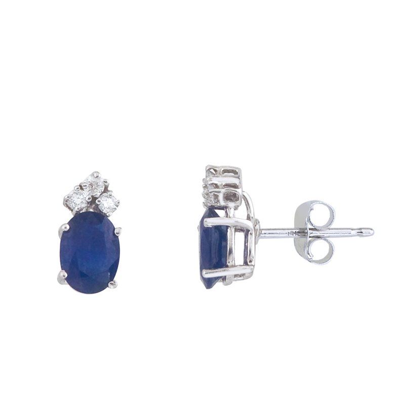 Color Merchants 14k White Gold Sapphire And Diamond Oval Earrings