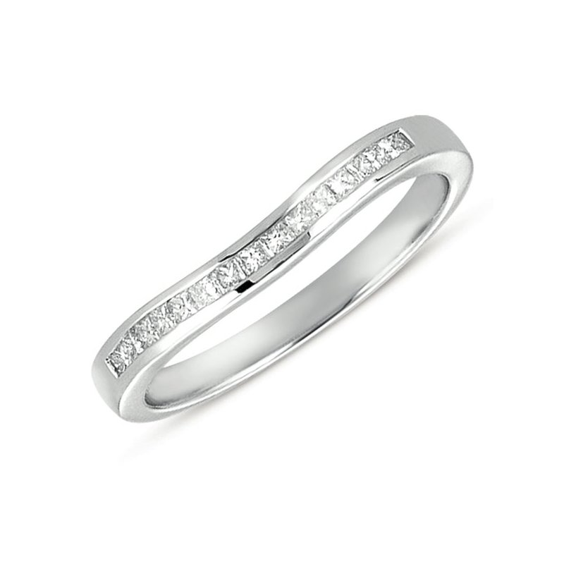 S. Kashi & Sons Bridal Curved White Gold Princess Band