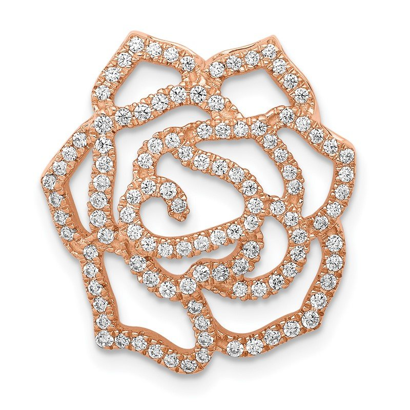 Quality Gold 14k Rose Gold Diamond Fancy Flower Chain Slide