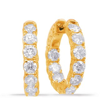 Yellow Gold Hoop Earring 4 Prongs