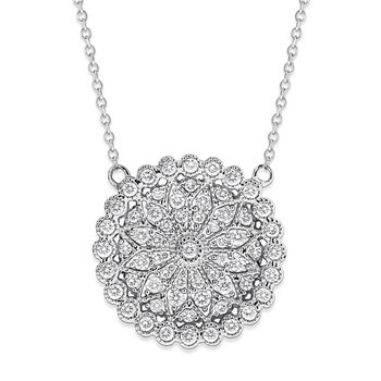 Diamond Antique Style Disc Necklace in 14K White Gold with 61 Diamonds Weighing .78ct tw.