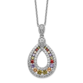Cheryl M Sterling Silver Rhod-plated Multicolor CZ Teardrop 18in Necklace