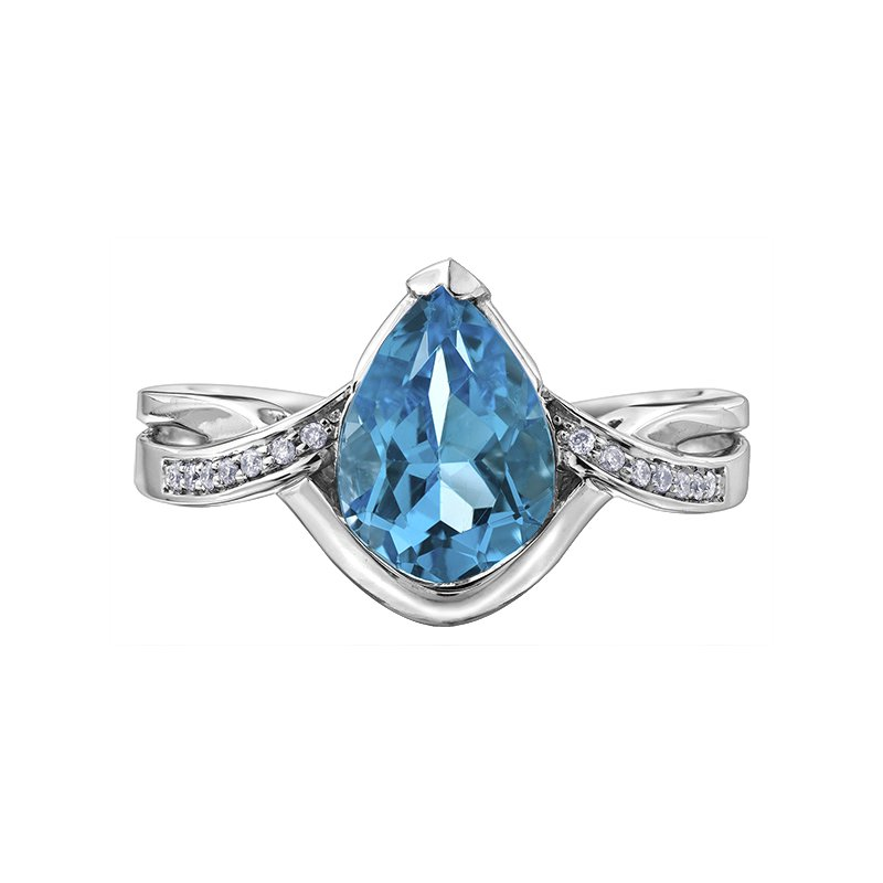 Diamond Wishes Blue Topaz Ladies Ring