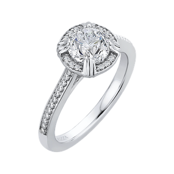 18K White Gold Round Diamond Halo Cathedral Style Engagement Ring (Semi-Mount)