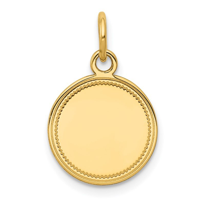 Quality Gold 14k Plain .013 Gauge Engravable Round Disc Charm
