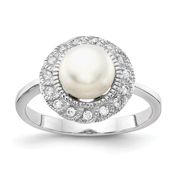 Cheryl M Sterling Silver Rhodium Plated CZ & White FWC Pearl Ring