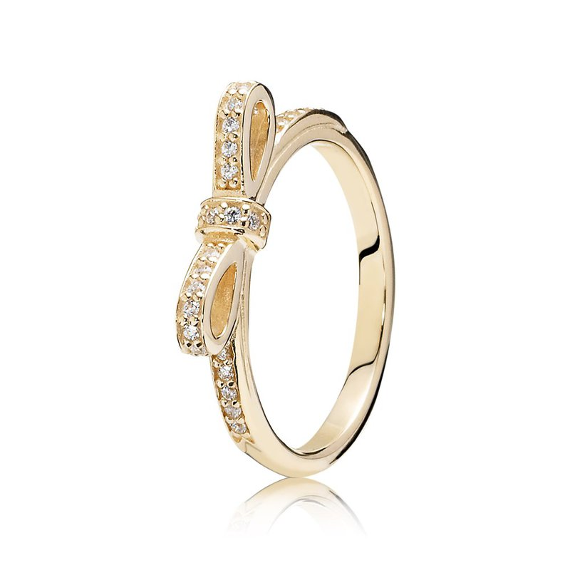 PANDORA Sparkling Bow Stackable Ring, Clear Cz 14K Gold