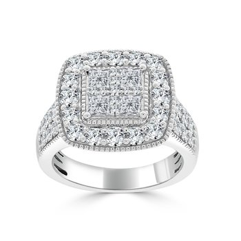 14 KT White gold Princess & Round Composite Engagement ring (2.50 CTW)