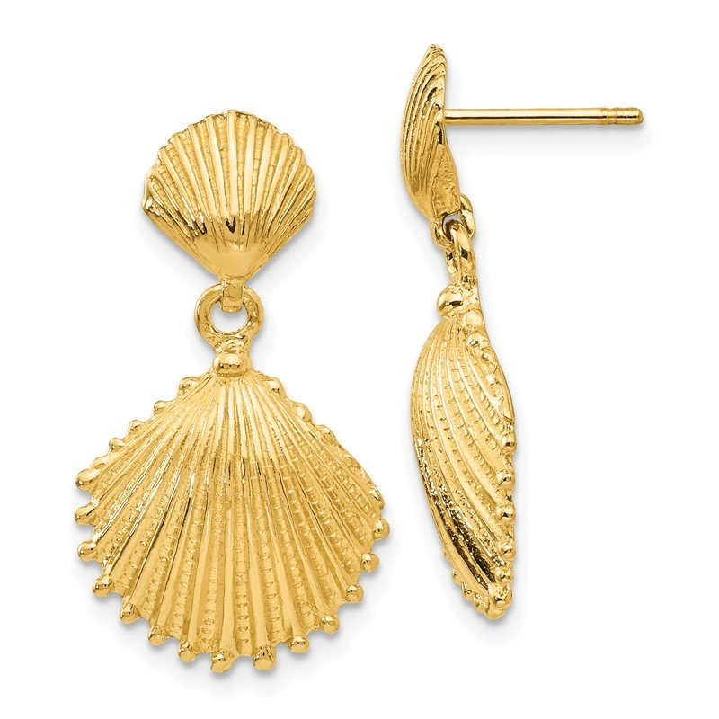 Quality Gold 14K Scallop Shell Dangle Post Earrings