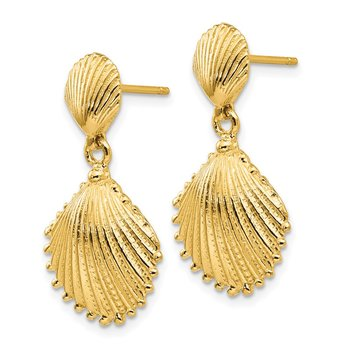 14K Scallop Shell Dangle Post Earrings