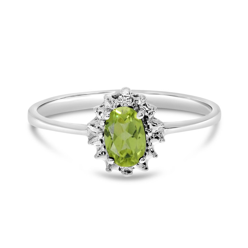 Color Merchants 14k White Gold Oval Peridot And Diamond Ring