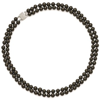 Sterling Silver Majestik Rh-pl 2 Row 7-8mm Blk Imitat Shell Pearl Necklace