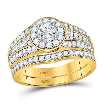 14kt Yellow Gold Womens Diamond EGL Round Bridal Wedding Engagement Ring Band Set 1.00 Cttw
