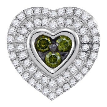 10kt White Gold Womens Round Green Color Enhanced Diamond Heart Cluster Pendant 1/2 Cttw
