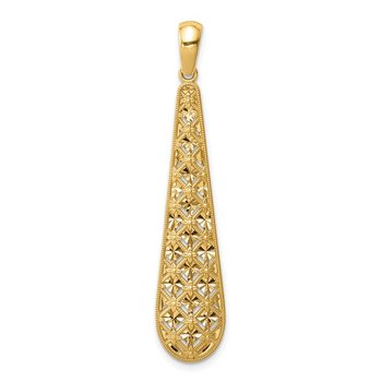 14K Elongated Diamond-cut Charm