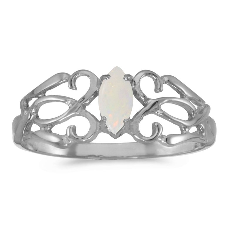 Color Merchants 14k White Gold Marquise Opal Filagree Ring