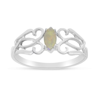 14k White Gold Marquise Opal Filagree Ring