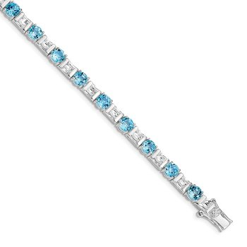 Sterling Silver BlueTopaz and CZ Bracelet