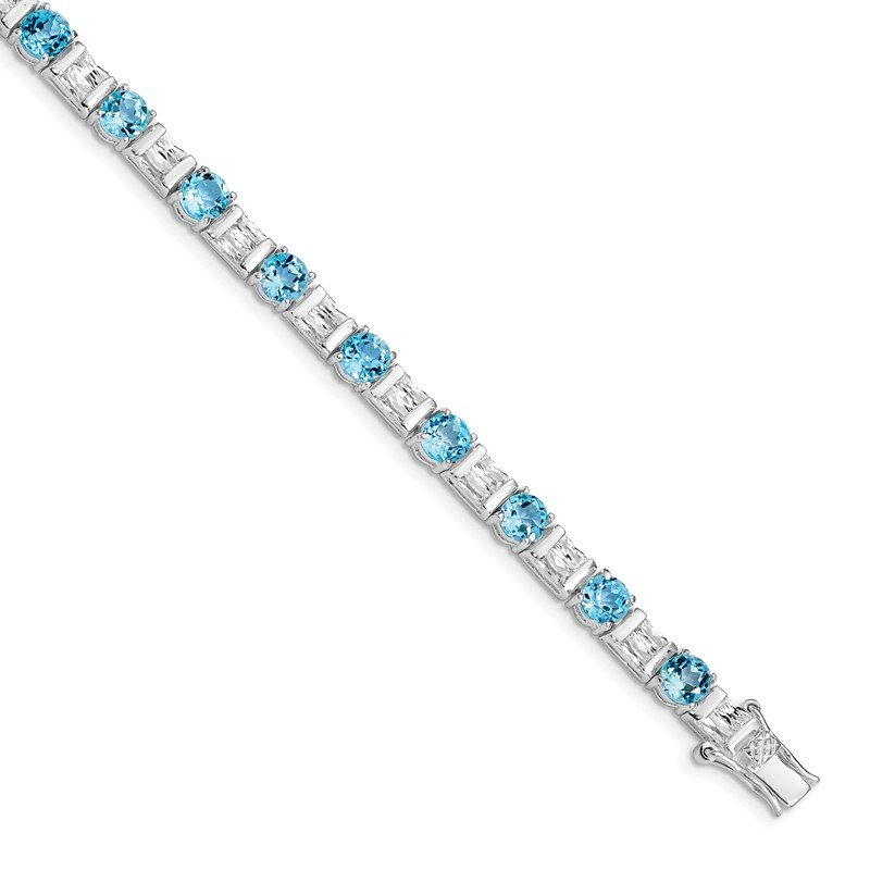 Quality Gold Sterling Silver BlueTopaz and CZ Bracelet