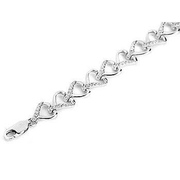 925 SS  Diamond Heart Linked Tennis Bracelet with Diamonds on Alternating Side of the Hearts