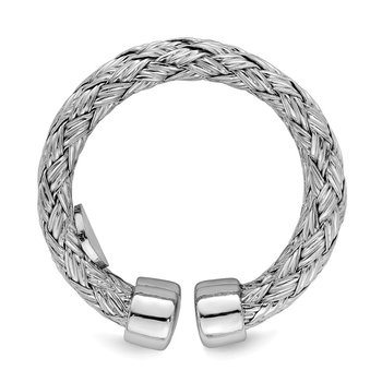 Sterling Silver Polished Rhodium-plated Double Strand Adjustable Ring