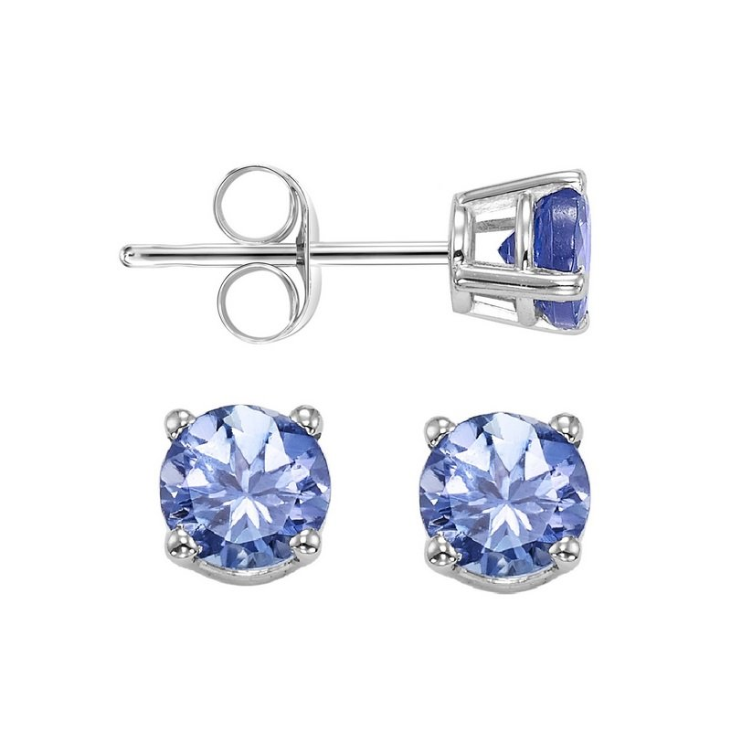Gems One Four Prong Tanzanite Studs in 14K White Gold (4.5 MM)