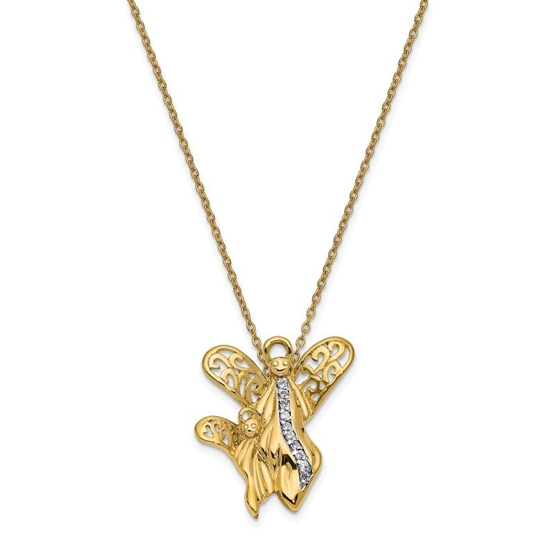Quality Gold Sterling Silver & Gold-plated CZ Angel of Motherhood 18in Necklace