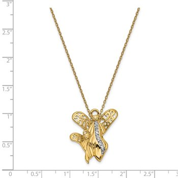 Sterling Silver & Gold-plated CZ Angel of Motherhood 18in Necklace