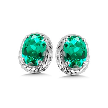 Created Emerald Earrings in Sterling Silver