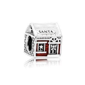 Santa's Home Charm, White & Translucent Red Enamel