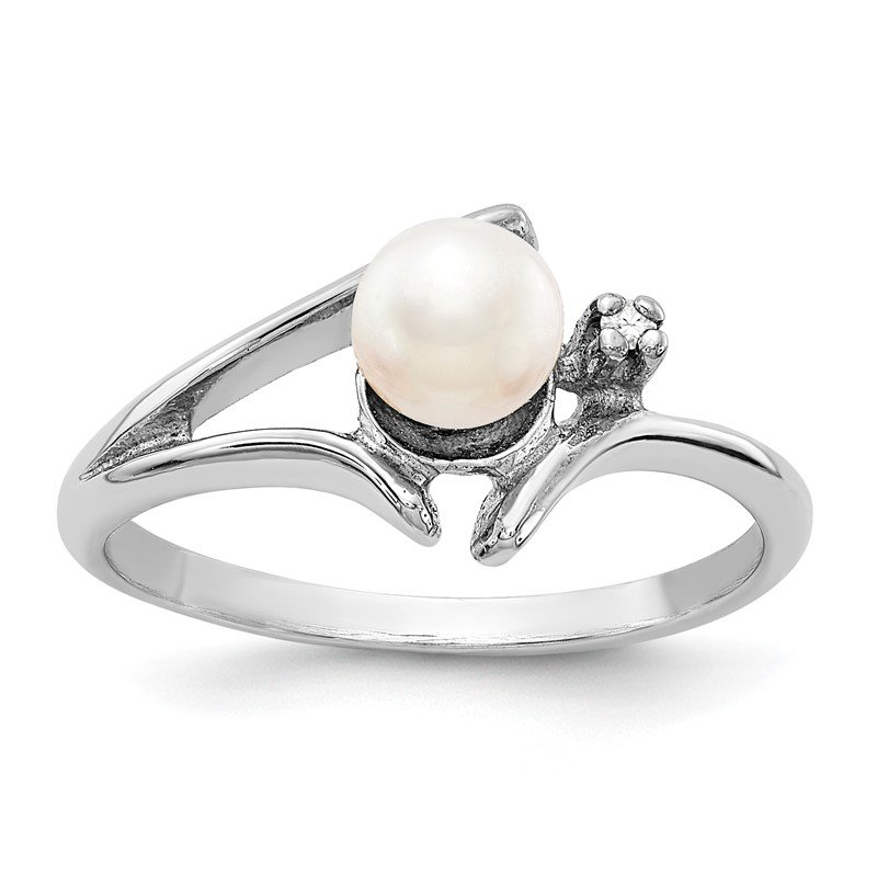 Quality Gold 14k White Gold 5mm FW Cultured Pearl & AA Diamond Ring