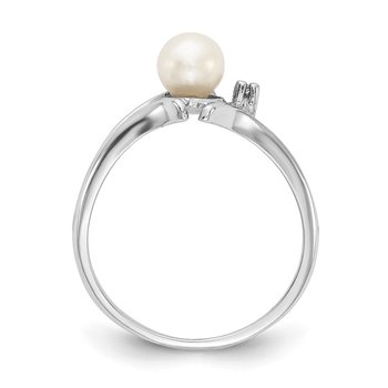 14k White Gold 5mm FW Cultured Pearl & AA Diamond Ring
