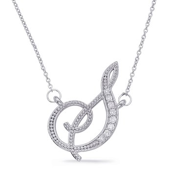 White Gold Diamond Initial S Pendant