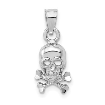 14K White Gold Skull and Crossbones Pendant