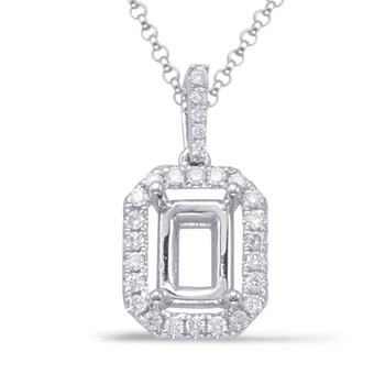 Diamond Pendant For 8X6mm Emerald Cut