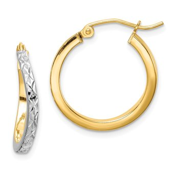 Sterling Silver RH-plated Vermeil D/C 2.5mm Curved Hoop Earrings