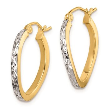 Sterling Silver Rhod-plated Vermeil Diamond-cut 2.5mm Curved Hoop Earrings