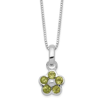 Sterling Silver Peridot Flower Pendant Necklace