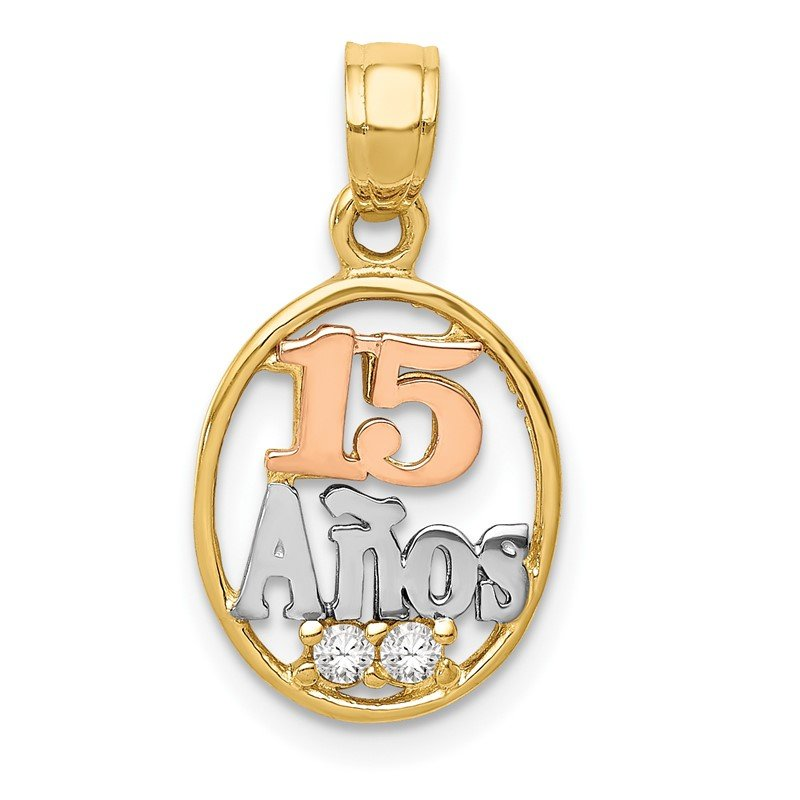 Quality Gold 14k Two-tone w/White Rhodium CZ 15 Anos Pendant